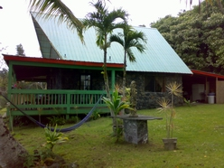 "at Mana Ke'a Gardens visitors stay at the ""Lava House"" for cleansing treatments in a garden sanctuary setting 1,700 ft above the Sacred Hawaiian 'City of Refuge' in south Kona, Hawaii"